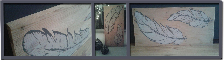 schilderij op hout: twee veren 85 euro