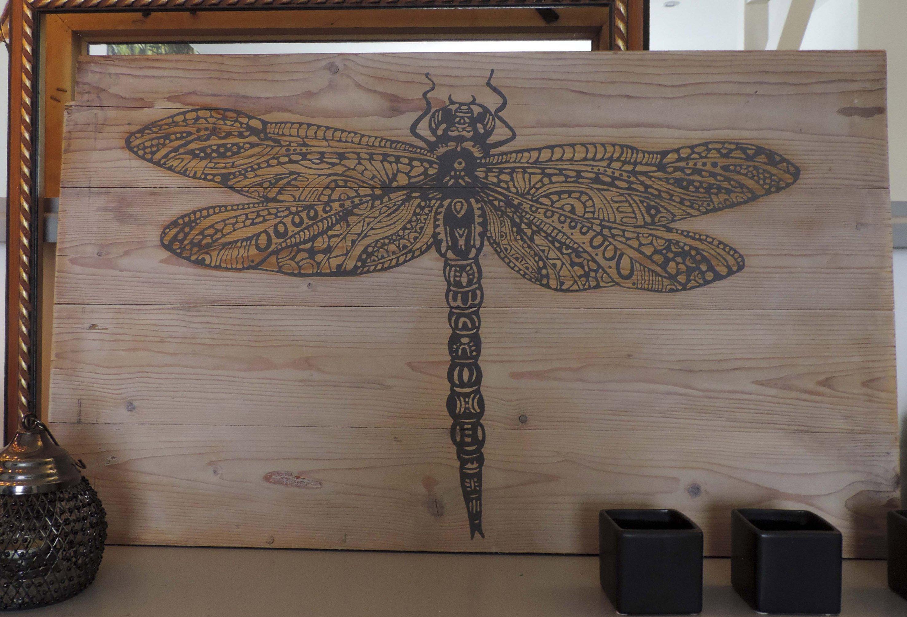 Libelle, schilderij op hout